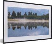 Foto in lijst - Ochtend in het Nationaal park Aoraki/Mount Cook in Nieuw-Zeeland fotolijst zwart met witte passe-partout 60x40 cm - Poster in lijst (Wanddecoratie woonkamer / slaapkamer)