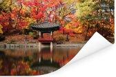Een paviljoen tussen de mooi gekleurde bladeren in Changdeokgung Poster 180x120 cm - Foto print op Poster (wanddecoratie woonkamer / slaapkamer) XXL / Groot formaat!