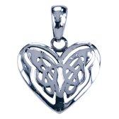 Zilveren Keltische hart ketting hanger - 2