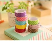 8x Washi Tape Bolletjes - Gekleurde Washi Plakband / Masking Decoratie Papier Tape