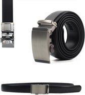 Zwart Lederen Herenriem met Zilveren Gesp - 100% Runder Leder Zwart - Verstelbaar - Inkortbaar - Max 110 cm