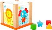 Vormenstoof hout - Dierentuin dieren - Kubus - Houten speelgoed vanaf 1 jaar