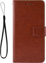 Mobigear Retro Texture Luxe Wallet Hoesje Bruin Motorola One Vision