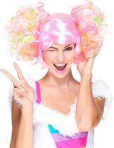 Licht roze pruik met gekleurde krulstaarten - Verkleedpruik