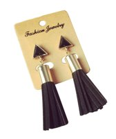 Statement Oorbellen Goudkleurig-Zwart | Driehoek + Tassel/Kwastje | Fashion Jewelry