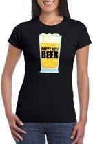 Fout oud en nieuw t-shirt Happy New Beer / Year zwart voor dames 2XL