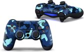 Army Camo / Blauw Zwart - PS4 Controller Skins PlayStation Stickers