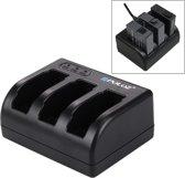 PULUZ 3-sleufs Batterij oplader met Micro USB Poort & USB Type-C Poort & LED Indicatie licht voor GoPro HERO5 AHDBT-501