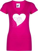 "Yoga-shirt ""yoga opens your heart"" - pink S Sporttop performance YOGISTAR"