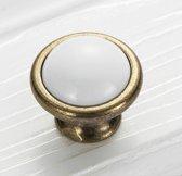 2x Luxe deurknop Wit rond | Ladeknop | Handvat