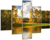 Glasschilderij Natuur | Groen, Bruin, Wit | 100x70cm 5Luik | Foto print op Glas |  F002699