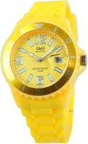 Q&Q quartz sportief unisex horloge| siliconen band geel