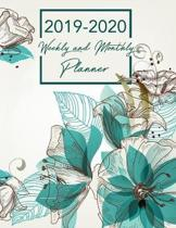 2019-2020 Weekly & Monthly Planner: Blue Floral Academic Planner Organizer Calendar - August 2019-July 2020