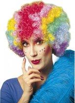 Clownspruik multikleuren voor dames