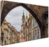 Historisch centrum Praag Canvas 30x20 cm - Foto print op Canvas schilderij (Wanddecoratie)