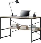 [en.casa] Bureau met 1 plank Almere zwart en hout