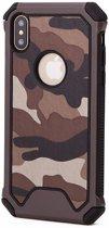 P.C.K. Army/Leger/Camouflage Backcover/Achterkant bruin geschikt voor Apple iPhone 7 MET GLASFOLIE