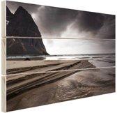 Donkere lucht boven strand Hout 60x40 cm - Foto print op Hout (Wanddecoratie) / Zee en Strand