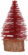 Kerstboompje op stam 14 cm rood