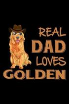 real dad loves golden: Western Dad Golden Retriever Gif Father Dogs Men Journal/Notebook Blank Lined Ruled 6x9 100 Pages