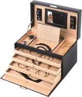 Treasury Classic XL Sieradendoos - Luxe Juwelendoos met spiegel - Opbergbox kunstleder - Zwart
