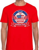 Rood USA drinking team t-shirt rood heren -  Amerika kleding M