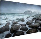 Noorse zee  Canvas 180x120 cm - Foto print op Canvas schilderij (Wanddecoratie woonkamer / slaapkamer) XXL / Groot formaat! / Zee en Strand