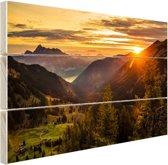 Zonsopgang achter de bergen Hout 30x20 cm - klein - Foto print op Hout (Wanddecoratie)