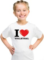 Wit I love volleybal t-shirt kinderen XS (110-116)