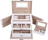 XL Luxe Sieradenbox Met Spiegel - Bijouteriedoos Opbergbox - Juwelen Opbergdoos - Met Reisetui PU Leder Wit