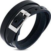 Amanto Armband Farran D - Heren - Leer - Zwart - Wikkel - 8 mm - Aanpasbaar (max.60 cm)