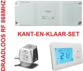 2X RF THERMOSTAAT, 4X THERMISCHE KLEP, KANT-EN-KLAAR (geen wifi), GESCHIKT VOOR 2 RUIMTES EN 4 GROEPS VERDELER, ZONEREGELING