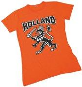 T-shirt Holland voor dames met zwarte leeuw L