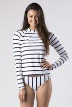 Mott50 Leigh Dames UV Werend Zwemshirt Lange Mouw True Navy Stripe