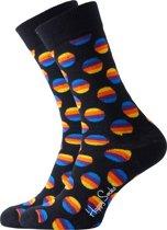 Happy Socks sokken Sunrise Dot Sock - zwart met kleur -  Maat 41-46