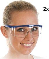 Beschermingsbril - Veiligheidsbril - Blauw - Fit - 2 stuks