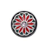 Quiges - Dames Click Button Drukknoop 18mm Bloem Groen met Rood - EBCM258