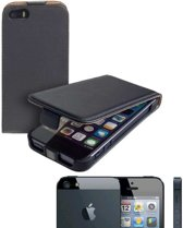 MP Case Zwart Eco Leer Flip Case Apple iPhone 5 5S SE flip cover kalp cover hoesje voor de Apple iPhone 5 5S SE