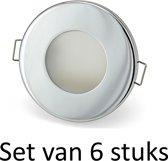Dimbare Phillips 5W GU10 Badkamer inbouwspots Zilver rond | Extra warm wit (Set van 6 stuks)