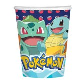 8x Pokemon themafeest drinkbekertjes - Wegwerp drinkbekers van karton - Kinderfeestje tafeldecoratie
