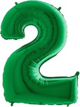 Folieballon cijfer '2 groen (100cm)