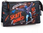 El Charro - Etui 3 Compartimenten - Skateboard - Zwart - 22 cm