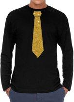 Zwart long sleeve t-shirt met stropdas in glitter goud heren - zwart feest shirt met lange mouwen voor heren XL