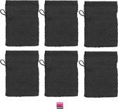 JASSZ Zware Katoen Washandjes 6 Pack Zwart