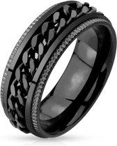 Ringen Mannen - Ring Mannen - Zwarte Ring - Ring Heren - Heren Ring - Ring - Ringen - Met Uniek Schakelmotief - Groov