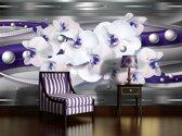 Fotobehang Papier Bloemen, Orchideeën | Zilver | 254x184cm