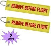 Fako Bijoux® - Sleutelhanger - Remove Before Flight - Geel/Rood - 2 Stuks