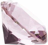 Roze nep diamant 5 cm van glas