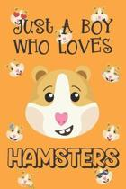 Just A Boy Who Loves Hamsters: Hamster Gifts: Novelty Gag Notebook Gift: Lined Paper Paperback Journal Book