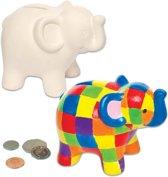 Maak ontwerp je eigen keramische spaarpotten olifant - knutselspullen voor kinderen (2 stuks)